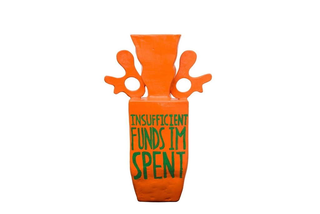 'Insufficient Funds I'm Spent', 2021. Clay and acrylic. (Githan Coopoo)