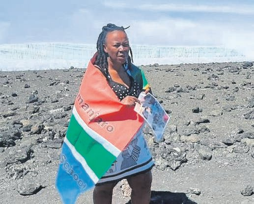 Filmmaker, Andiswa Siwela, climbed Mount Kilimanjaro with the aim of building toilets for Qhakazana Primary School in Willowvale.                         PHOTO:SUPPLIED