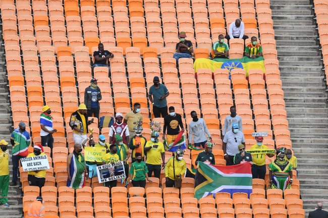 JOHANNESBURG, SOUTH AFRICA - OCTOBER 12: Supporter