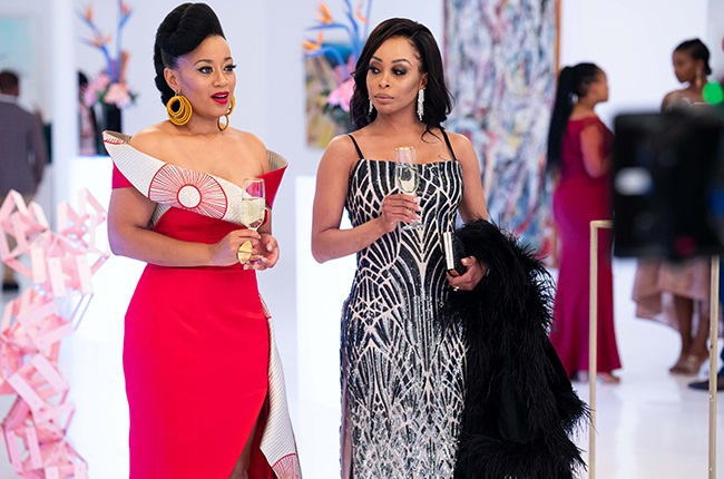Renate Stuurman and Khanyi Mbau in Happiness Ever After.