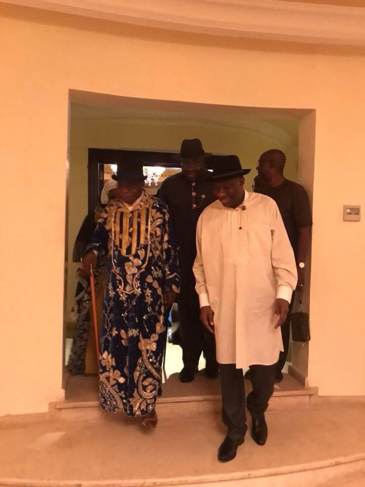 Obasanjo rocks bolla hat in meeting with Jonathan