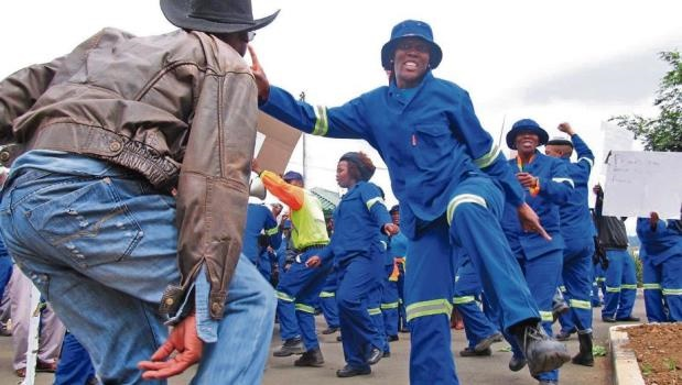 Community services municipal workers embarked on a strike outside the Harry Gwala Stadium.