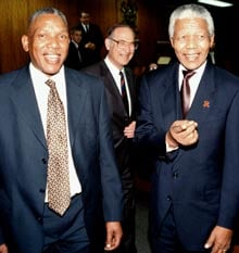 <b>Nelson Mandela with his son Makgatho in 2000. (Beeld)</b>