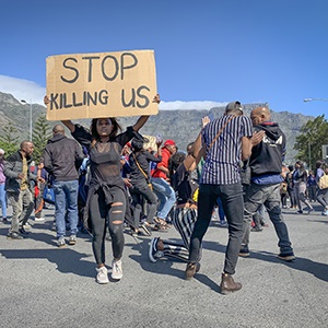 Protesters blocked a major intersection in the Cape Town city centre on Wednesday after President Cyril Ramaphosa failed to address them at the CTICC. (Aletta Harrison/News24)