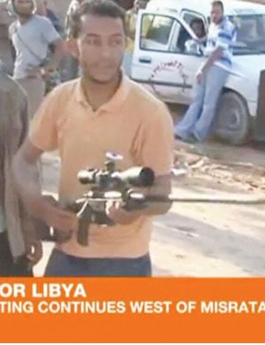 An image taken from Al-Jazeera news footage shows a captured South African-made sniper rifle in Libya