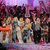 The models gather on the catwalk after the show along with special guests Kanye West, Nicki Minaj and Adam Levine.