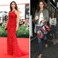 Former super model, Cindy Crawford, is a vision in this red gown. She is pictured here with her daughter, Kaia.