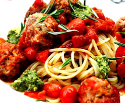 Spaghetti and meatballs, basil pesto, my easy cook