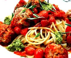 Spaghetti and meatballs, basil pesto, my easy cook