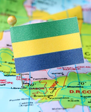 Gabon flag and map. (iStock)