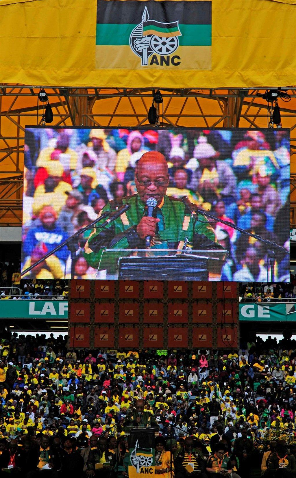 President Jacob Zuma reads the ANC's January 8 statement. Picture: Tebogo Letsie/City Press