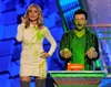 Heidi Klum and <I>Glee</i>'s Chris Colfer get slimed as they present the award for favourite TV actress at Nickelodeon's 25th Annual Kids' Choice Awards. (Chris Pizzello, AP)