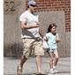 Ed Burns, husband to supermodel, Christy Turlington walks their daughter, Grace to school.