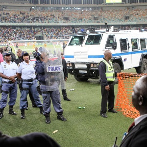 Crowd violence at the Nedbank Cup semi-final.