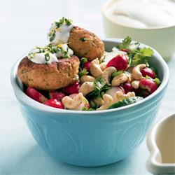 chicken cakes with radish salad