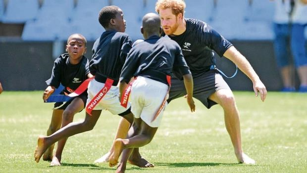 British royal Prince Harry joined the Sharks youth development training session at King's Park.