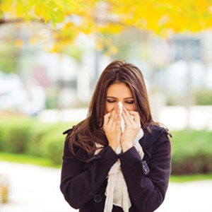 Woman with allergies
