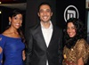 Riaad with his gorgeous wife (left) and Zakeeya Patel who plays his younger sister Aisha.