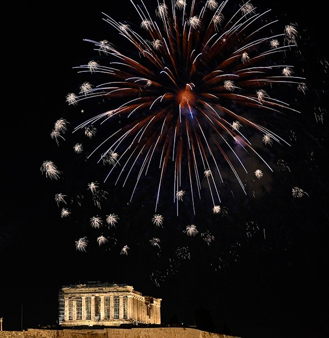ATHENS, GREECE - DECEMBER 31: A fireworks display