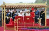 Members of the British Royal family onboard the royal barge during the Diamond Jubilee Pageant on the River.