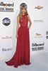Taylor Swift cuts a striking figure in red instead of her signature gold. (John Shearer, AP)