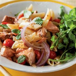 recipe, salmon, pasta,dinner