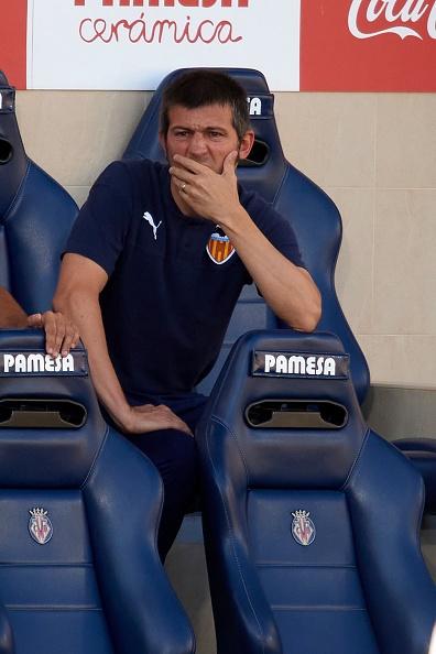 Albert Celades head coach of Valencia sitting on t