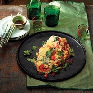 recipe, breakfast, omlette, tomato,coriander