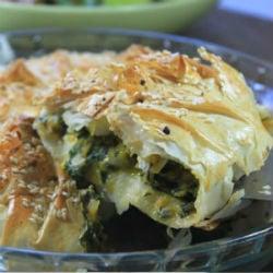 spinach butternut feta pie