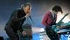 Radiohead's Thom Yorke and Jonny Greenwood rock the crowd.