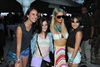 Paris Hilton poses with friends at Day 2 of the 2012 Coachella Valley Music & Arts Festival.