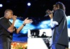 Rappers Dr Dre and Snoop Dogg got the crowd going.