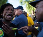 A heated stand-off has taken place in Mangaung between police and about 150 pro-change ANC members from the Free State and the Western Cape. See the pictures.