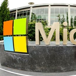 This photo taken with a fisheye lens shows Microsoft signage outside the Microsoft Visitor Centre in Redmond. (Ted S Warren, AP, file)