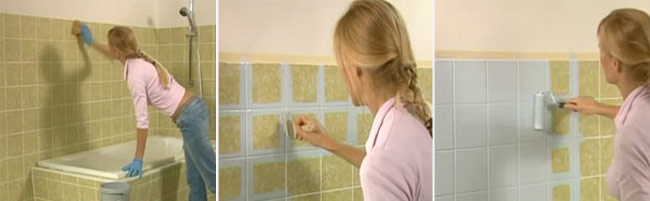 Painting Bathroom Tile Board cheap revamp: painting over tiles