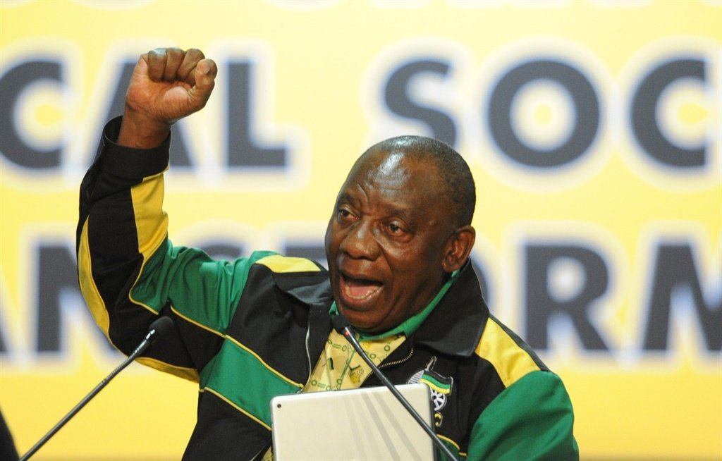 Cyril Ramaphosa at the ANC's national conference at Nasrec in December 2017. Photo: Felix Dlangamandla