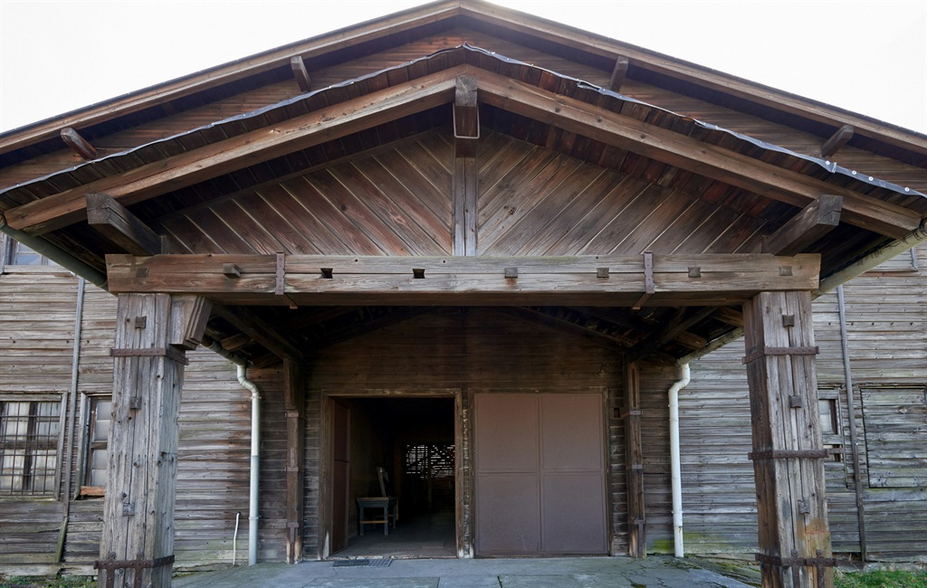 A photo showing the exterior of a former canteen building of SS guards at the former Nazi Germany death camp Auschwitz-Birkenau.