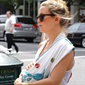 This isn't? Kate Hudson?s baby, but her son Ryder accompanied the actress as she strolled around Soho with a friend (the newborn?s mom). We love the colorful details on that sling — so chic!