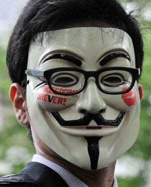 Anonymous. (Yoshikazu Tsuno, AFP, file)