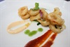 Tempura ginger-caramel squid with tomato jam and Yuzu Mayonnaise.