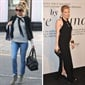 Actress Sienna Miller looks picture-perfect in a crisp Breton top, stonewash jeans and fringed jacket as she embraces her first pregnancy.