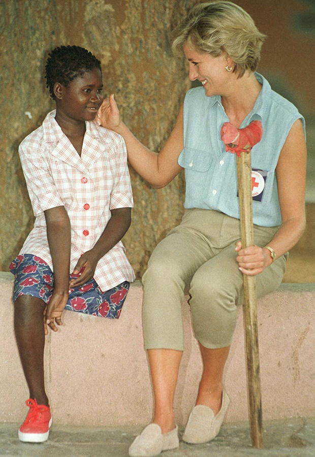 Diana, Princess of Wales with thirteen-year-old Sa