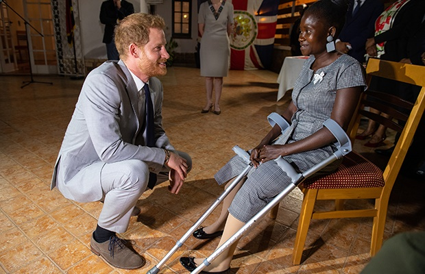 Prince Harry, Duke of Sussex meets landmine victim