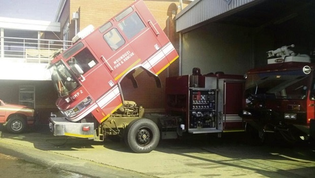 One of the older trucks, allegedly being used as a spare whilst the new trucks wait to be repaired, sits broken and unused at Edendale Fire Station.