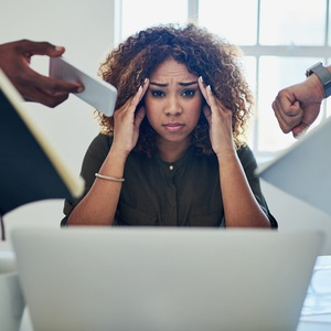 Frustrated woman at desk