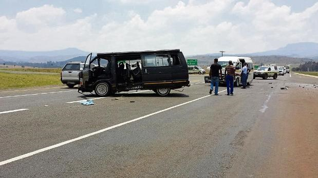 The scene of an accident involving two taxis on the N11.