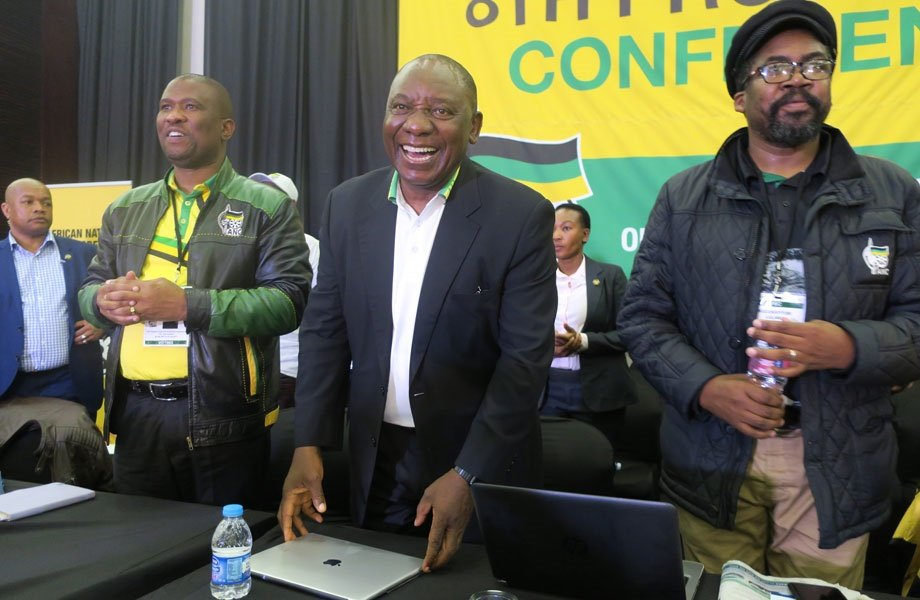 ANC deputy president Cyril Ramaphosa flanked by new Eastern Cape ANC chair Oscar Mabuyane and provincial secretary Lulama Ngcukaitobi. Picture: Lubabalo Ngcukana/City Press