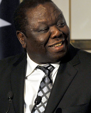 Zimbabwe Prime Minister Morgan Tsvangirai speaks during a lunch at Parliament House in Canberra, Australia. (AP )