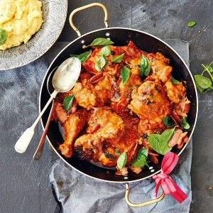 recipe, chicken, polenta, basil, tomato,dinner