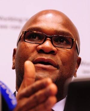Police Minister Nathi Mthethwa announcing the latest crime statistics at Parliament in Cape Town. (Picture: Sapa)